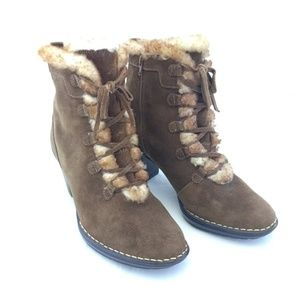 Sofft Shoes - Sofft 9.5M Ankle Boots Brown Suede Heel Shearling